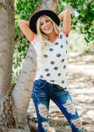 Polka Dot Top With Neon Trim in Ivory