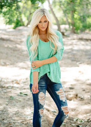 See You In My Dreams Luxe Slouchy Sweater Top Mint