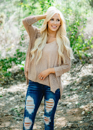 See You In My Dreams Luxe Slouchy Sweater Top Camel