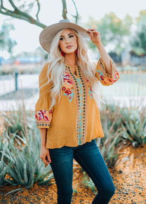 Embroidered Belle Sleeve Top Marigold