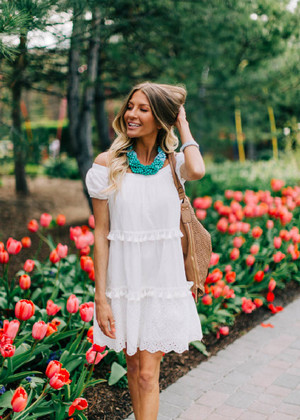 Off Shoulder Tiered Tassel Eyelet Lace Dress White CLEARANCE