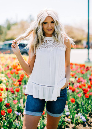 Poolside Lace Detailed Tank White