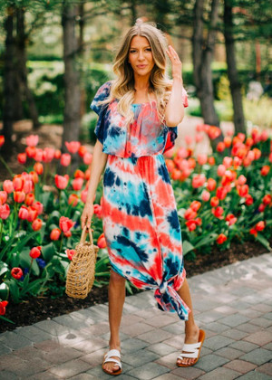 Vibrant Tie Dye Off Shoulder Ruffle Maxi Dress Coral/Navy
