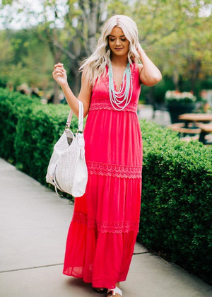 Beautiful Beach Walk Maxi Dress Fuchsia