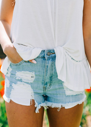 Light Perfectly Distressed Denim Shorts