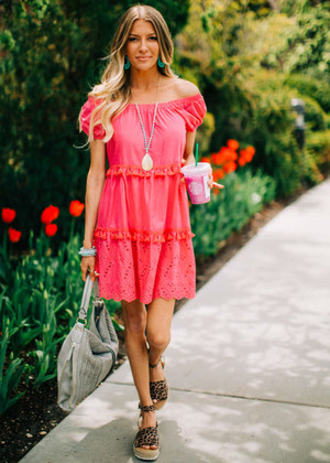 Off Shoulder Tiered Tassel and Lace Dress Pink
