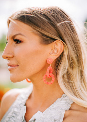 Double Hoop Earrings Neon Coral