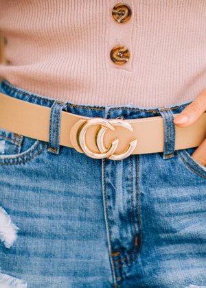 Double CC Faux Leather Belt Taupe