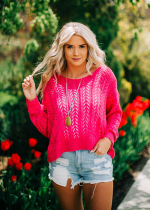 Can't Stop Me Twist Back Sweater Top Pink