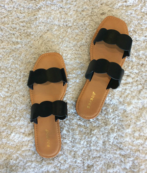 Scalloped Double Strap Sandals Black