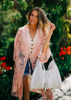 Beautiful Floral Lace Long Kimono Cardigan Pink
