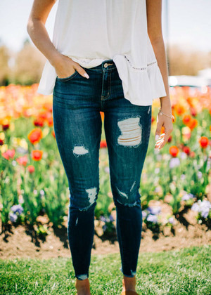 Beautifully Distressed Dark Denim Jeans CLEARANCE