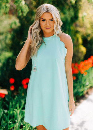 Cute Scalloped Tank Dress Mint