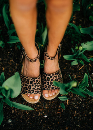 Kisses Under The Night Sky Leopard Wedges CLEARANCE