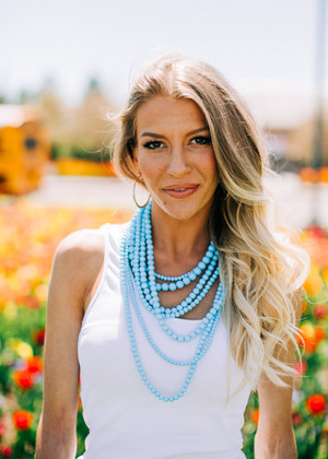 Layers and Dangles Necklace Blue CLEARANCE