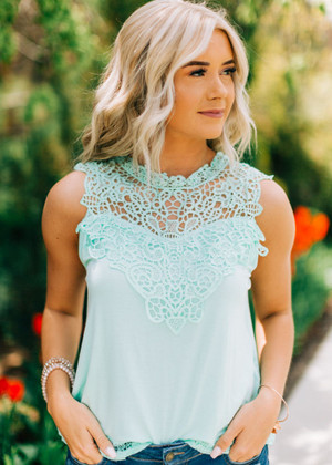Lace of Love Contrast Tank Top Mint
