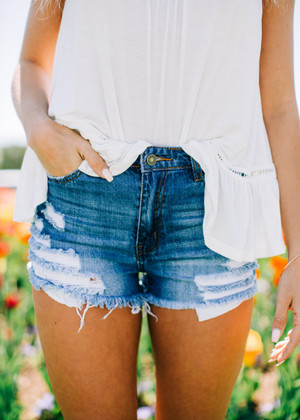 Dark Denim Distressed Shorts CLEARANCE