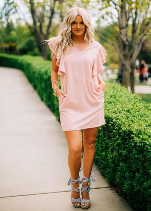Elegant Ruffle Sleeve Dress Mauve CLEARANCE