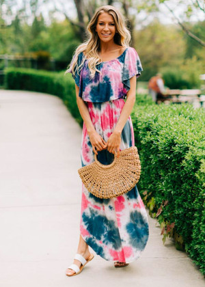 Vibrant Tie Dye Off Shoulder Ruffle Maxi Dress Pink
