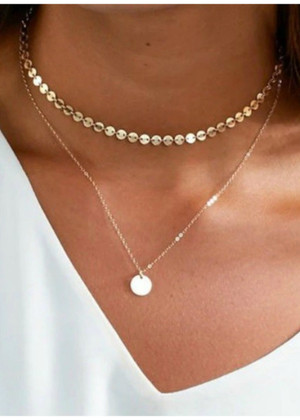 Simple Gold Layered Disc Choker Necklace Gold