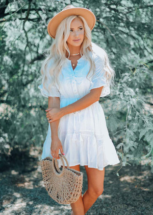 Want Me To Stay Button Up Cinched Lace Dress White