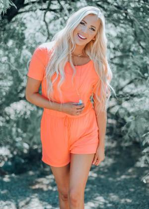 Jersey Knit Neon Shorts Romper