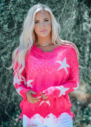 Wish Upon A Star Lightweight Sweater Neon Fuchsia