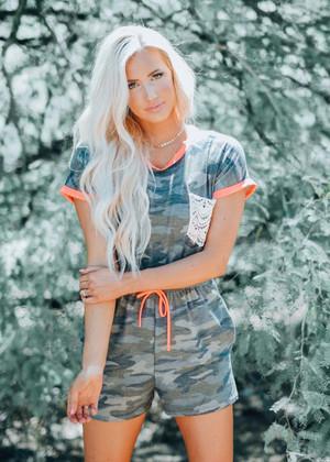 Camo Print Neon Trim Shorts Romper