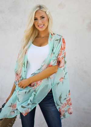 Beautiful Sheer Floral Boxy Cut Kimono Mint