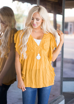 Fashion Parade Ruffle Textured Top Mustard CLEARANCE