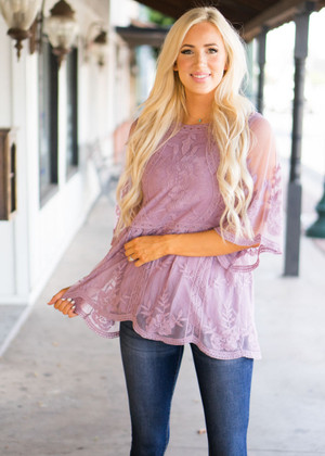 Gorgeous Babydoll Lace Scalloped Top Lavender