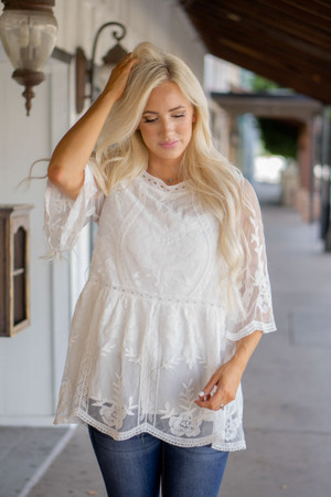 Gorgeous Babydoll Lace Scalloped Top Off White