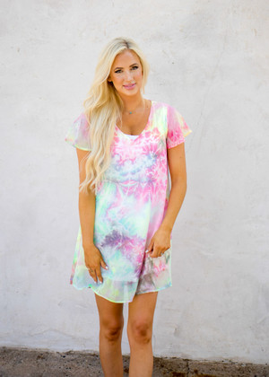 Colorful Watercolor Explosion Tie Dye Dress