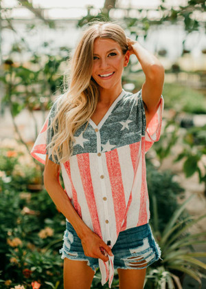 Living In America Button Down Tie Flag Top