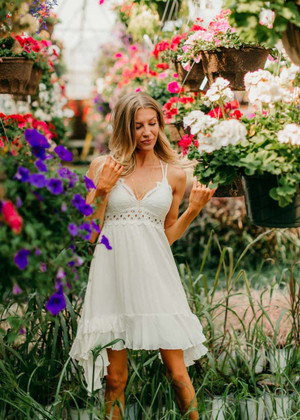 I Wish That I Could Stay Ruffle Lace Dress Ivory
