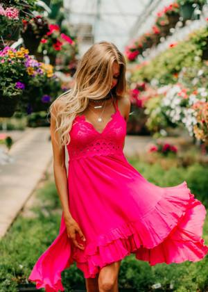 I Wish That I Could Stay Ruffle Dress Neon Fuchsia