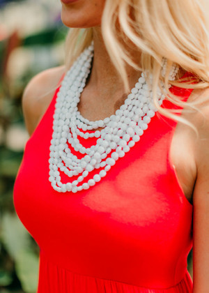 Layers of Fun Beaded Necklace White