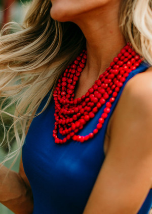 Layers of Fun Beaded Necklace Red