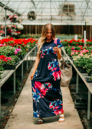 I Just Can't Lie Floral Maxi Dress Navy