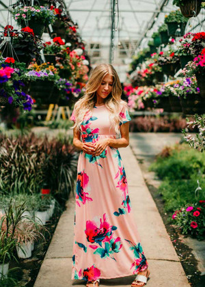I Just Can't Lie Floral Maxi Dress Blush