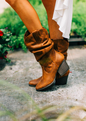Dance With Me Slouchy Cowgirl Boots Chestnut