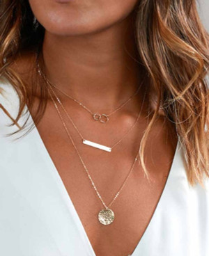 Gold Coin and Bar Necklace Gold
