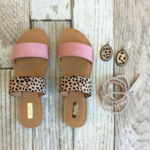 Walk On The Beach Sandal Tiny Leopard Print Ash Rose