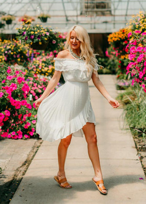 Saved By The Sound Of You Ruffle Dress White CLEARANCE