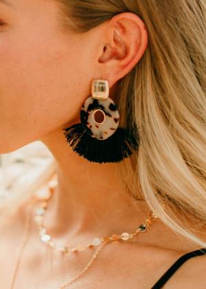 Marble Fine Thread Tassel Earrings Leopard