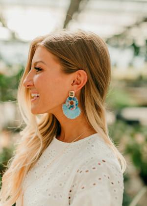 Candy Marble Fine Thread Tassel Earrings Blue