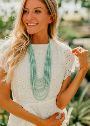 Multi Layered Dangle Necklace Mint