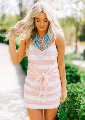 Wide Striped Front Ribbon Tie Dress Peach
