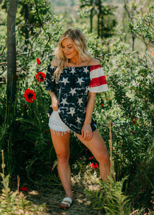 Show Some Pride Off Shoulder Flag Top