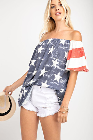 Show Some Pride Off Shoulder Flag Top CLEARANCE
